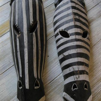 Pair of large wood African Tribal Zebra Masks Wall Hangings