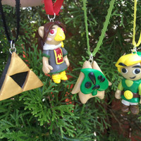 Legend of Zelda Inspired: Wind Waker Holiday Ornaments (or Necklace/Keychain charms)! Choose from Triforce, Makar, Link or Medli!