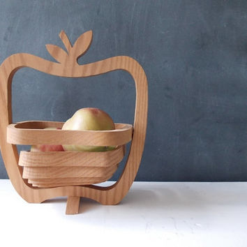 Collapsible Wooden Apple Basket : Vintage Wood Fruit Bowl