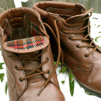 VTG Brown leather granny grunge ankle boots sz 8