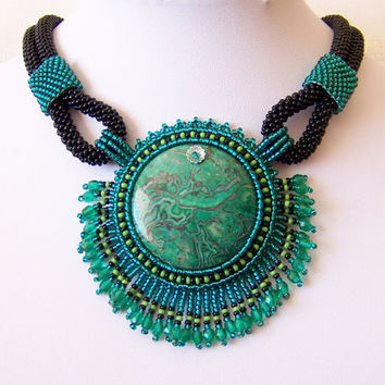 Bead Embroidery Necklace Pendant Beadwork with with Green Leopard Skin Jasper - EMERALD DREAM - emerald - green - black