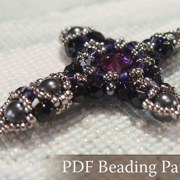 Beading tutorial Crystal Cross Pendant, Beadwork pattern with Swarovski Crystal, Rivoli and japanese seed beads