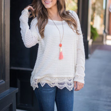 Fall Forever Sweater, Cream
