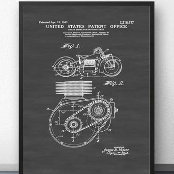 Indian Motorcycle Patent 1943 Blueprint Wall Art Paint Wall Decor Canvas Prints Canvas Art Poster Oil Paintings No Frame