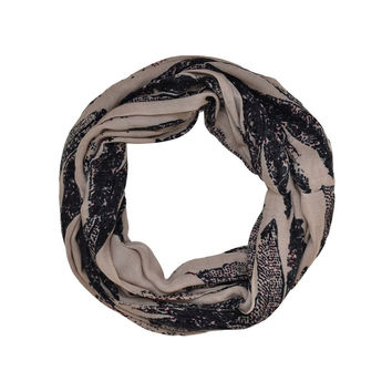 Abstract Feather Print Infinity Scarf