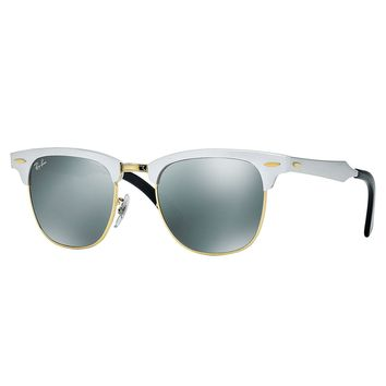 Ray-Ban RB3507 Clubmaster Aluminum Sunglasses Silver/ Silver Mirror 49mm
