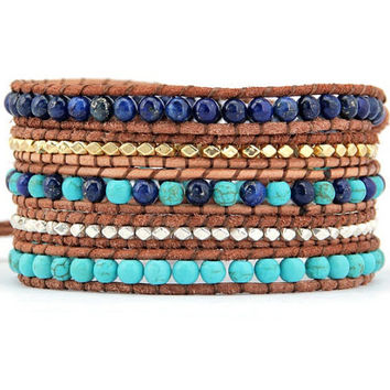 Wrap bracelet made with 2 mm Turquoise beads, Lapis Lazuli beads, gold & silver beaded 5 x leather wrap is adjustable