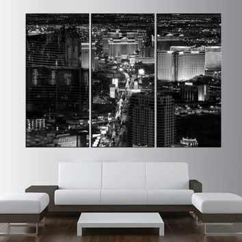 Black and white Las Vegas Skyline wall art, extra large wall art print canvas, gallery art, Las Vegas skyline large canvas print art t370
