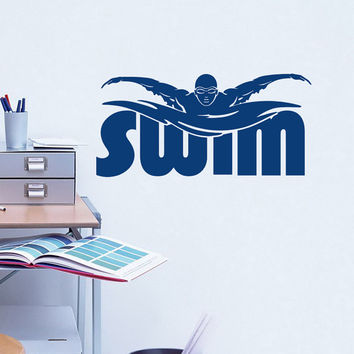 Sports Wall Decal Swimming Stickers Swim Swimmer Swimming Pool Decor Sports Logo Bedroom Nursery Boys Room Teen Dorm Swim Wall Art 0087