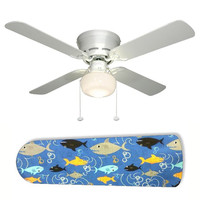 "Fish Frenzy Swimming Shark 42"" Ceiling Fan and Lamp"