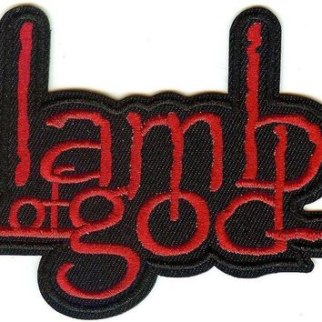 Lamb Of God Iron-On Patch Red Letters Logo