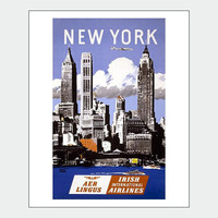 New York Skyline Vintage Travel Poster Print
