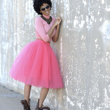 Tulle Skirt | Coral Pink Mid-length Tutu Cute Skirt, Midi Skirt, Adult Tutu, Tulle Skirt Women, Cute Skirt