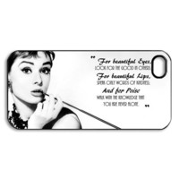 audrey hepburn quoter beautiful eyes iphone 5 case / custom cases iPhone 5 / design can change to iPhone 4 4s ,Samsung Galaxy S3 HTC one x
