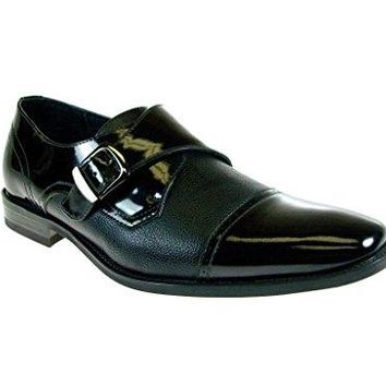 New Men's 19308 Patent Monk Strap Loafer Dress Shoes
