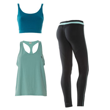 FREDDY WR.UP®  SPORT 7/8 PANT + BRA + TANK SET - Black/Mint