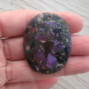 Purple Sea Sediment Jasper Oval Polished Pendant Bead  - DIY jewelry supply, polished and drilled stones, rocks and minerals, jewelry supply