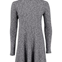 Brooke Cowl Neck Rib Knit Swing Dress