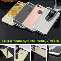 "New Fashion Rose gold Luxury Mirror Soft Clear TPU Case For iPhone 7 Plus 6 6S 4.7 inch & iPhone6 Plus 5.5"" & SE 5S 5 Cover Back"