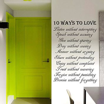 Wall Decal Vinyl Sticker Decals Art Home Decor Murals Quote Decal Quote Sign Words 10 Ways to Love Family Gift Pray Decals KV42