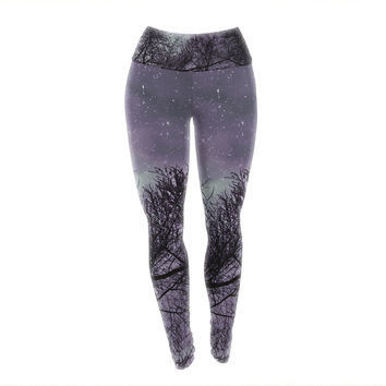"Sylvia Coomes ""Purple Sky"" Lavender Black Yoga Leggings"