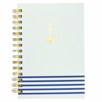 Gold Anchor Blue and White Stripes Hard Cover Journal