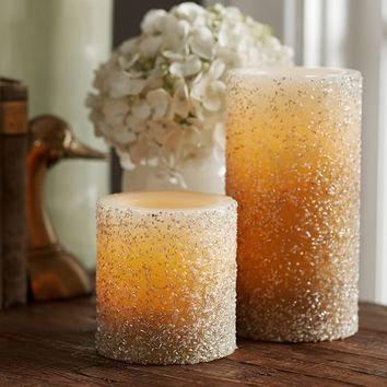 Flameless Gold Beaded Wax Pillar Candle