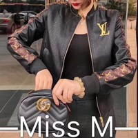"""Louis Vuitton"" Women Fashion Letter Logo Long Sleeve Short Section Cardigan Zip PU Leather Clothes Jacket Coat"