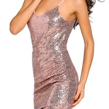 Golden Rose Sequin Zipper Backless Spaghetti Strap Deep V-neck Homecoming Club Mini Dress