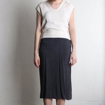 CHIC Antique Linen Dress . Chambray Navy and White by VeraVague