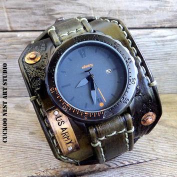 US Army Watch, Military watch, Leather watch, Cuff watch, Army Dad gift, Leather cuff watch, Military gift , Men's leather watch