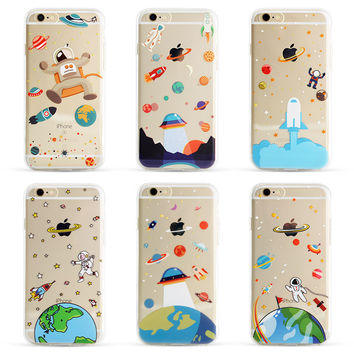 Soft TPU Case for iphone 5 5s SE 6 6s 6plus Airship Astronaut Space UFO Stars Moon Light Transperant Silicone Phone Case Cover