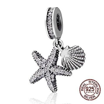 Tropical Starfish amp Sea Shell Hanging Charm  925 Sterling Silver Beads  European Style Bead Charm Bracelet