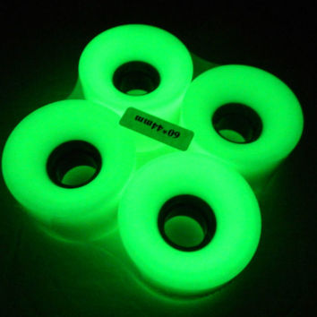 Blank GLOW IN THE DARK 60mm Longboard Color Wheels + ABEC 7 Bearing  + Spacers