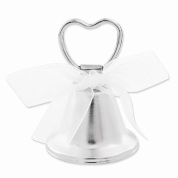 Silver-tone Heart Bell Place Card Holder - Perfect Wedding Gift