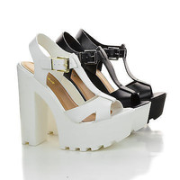 Lab Black White by Soda, T-Strap Lug Sole Platform Chunky Heel Dress Sandals