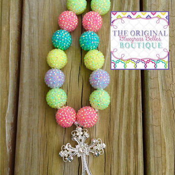 Spring cross necklace | cross necklace | Spring bubblegum necklace | bubblegum beads | chunky bead jewelry