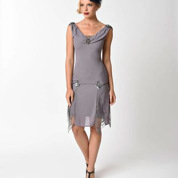 Unique Vintage 1920s Style Grey Hemingway Flapper Dress