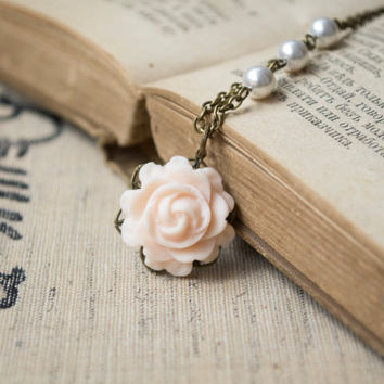 Polymer Clay Peach Color Rose Pendant Necklace. White Swarovski Pearls Beaded Chain. Antique Brass. Flower Jewelry