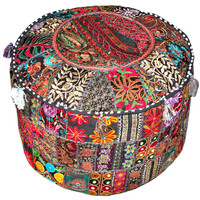 Bohemian Patchwork Pouf Ottoman in Black, Vintage Indian Pouf in Black, bohemian pouffe pouffes, Foot Stool Ottoman Floor Pillow seating