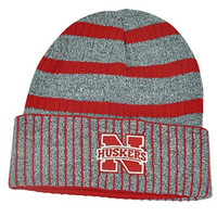 NCAA Nebraska Cornhuskers Cuffed Striped Heather Grey Knit Beanie Toque Skully