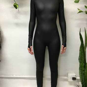 Matte Black Turtle Neck Catsuit
