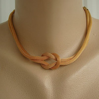 Goldtone Mesh Choker Necklace Two Strand with Knot Vintage Jewelry