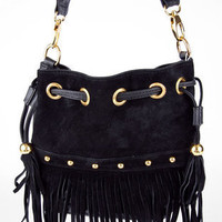 Braided Fringe Bucket Bag in Black :: tobi