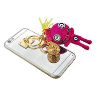 "S&C Cute Luxury String Of Bell Handmade Knitting Wool Toy Metal Buckle Pendant Chain Mirror Hard Back Case Cover Phone Case for iPhone 6 6S (4.7"") Hot Pink"