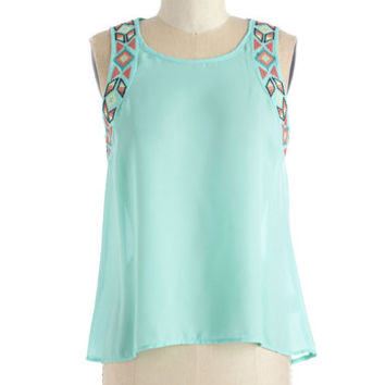 ModCloth Short Length Sleeveless Fun More Song! Top