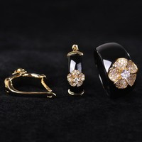 China Style Black Round Zircon Ceramic Jewelry Sets Earrings& Ring Women Gold Color Flower Wide Aros Porcelain Oorbellen Joyas