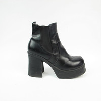 90s Platform Ankle Boots Black Chunky Ankle Boots Vegan Faux Leather Boots 1990s Monster Chunky Heel Boots Cyber Goth Rave Wide Elastic (11)