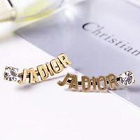 DIOR New fashion letter diamond long earring women