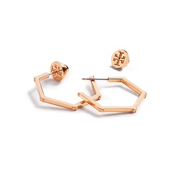 Tory Burch Hex-logo Hoop Earring